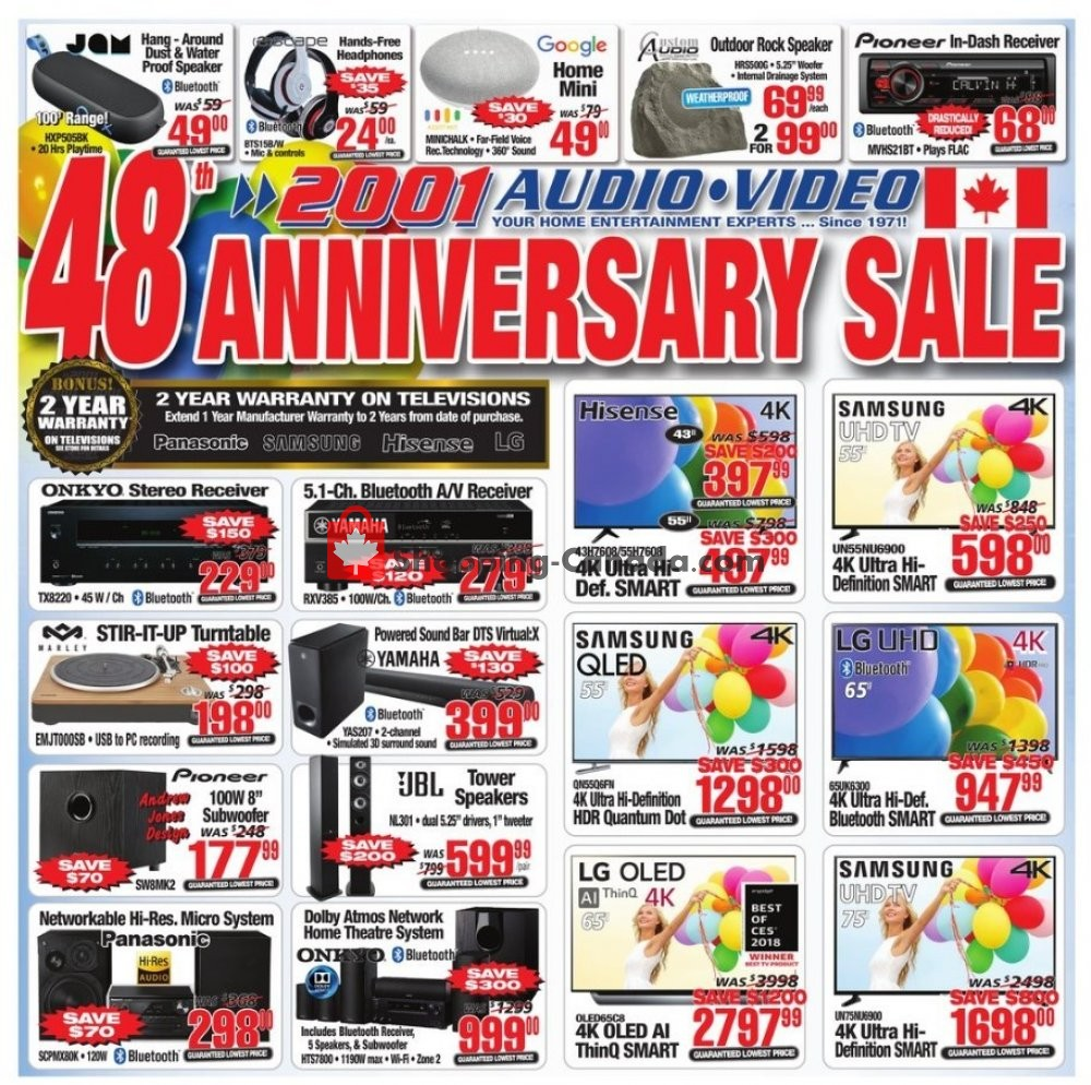 Flyer 2001 Audio Video Canada - from Friday April 19, 2019 to Thursday April 25, 2019