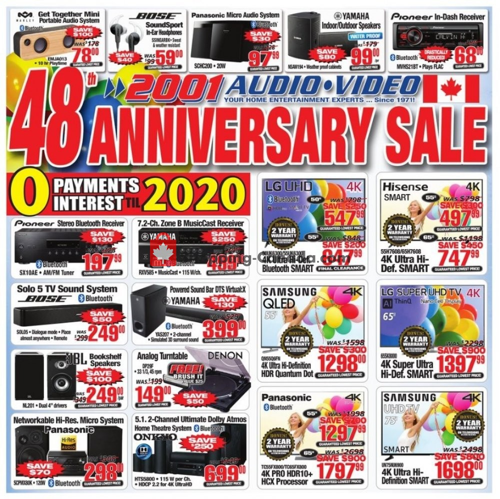 Flyer 2001 Audio Video Canada - from Friday April 12, 2019 to Thursday April 18, 2019