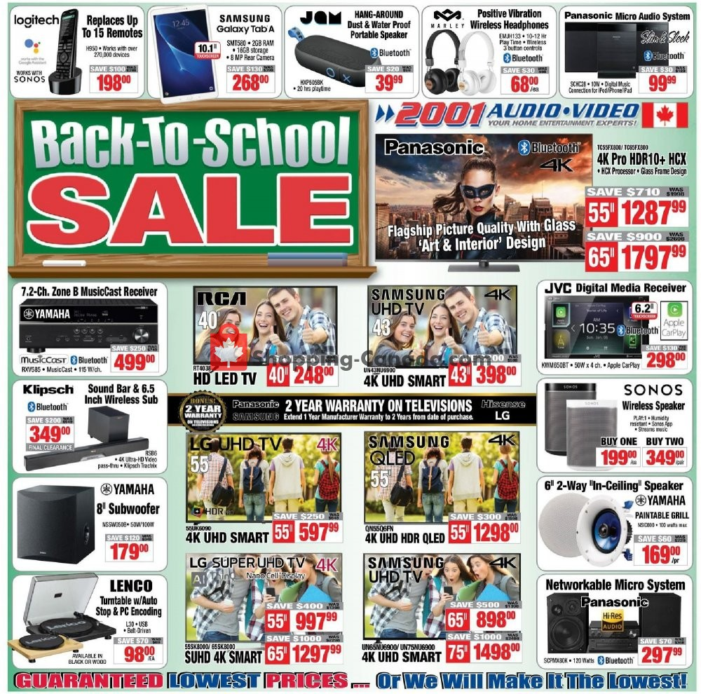 Flyer 2001 Audio Video Canada - from Friday September 6, 2019 to Thursday September 12, 2019