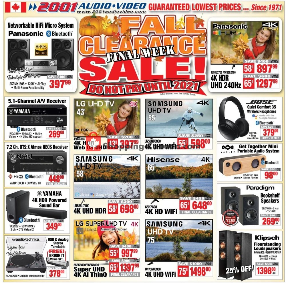 Flyer 2001 Audio Video Canada - from Friday November 8, 2019 to Thursday November 14, 2019