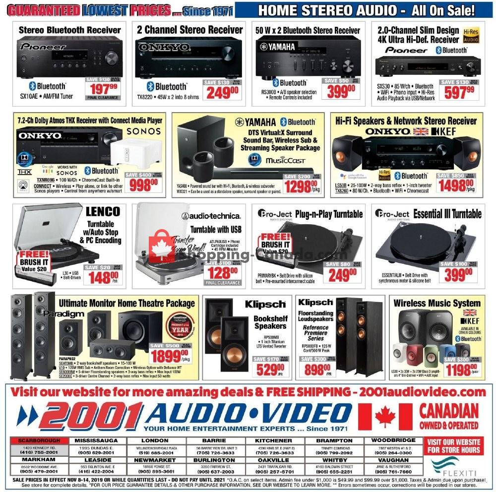 Flyer 2001 Audio Video Canada - from Friday November 8, 2019 to Thursday November 14, 2019