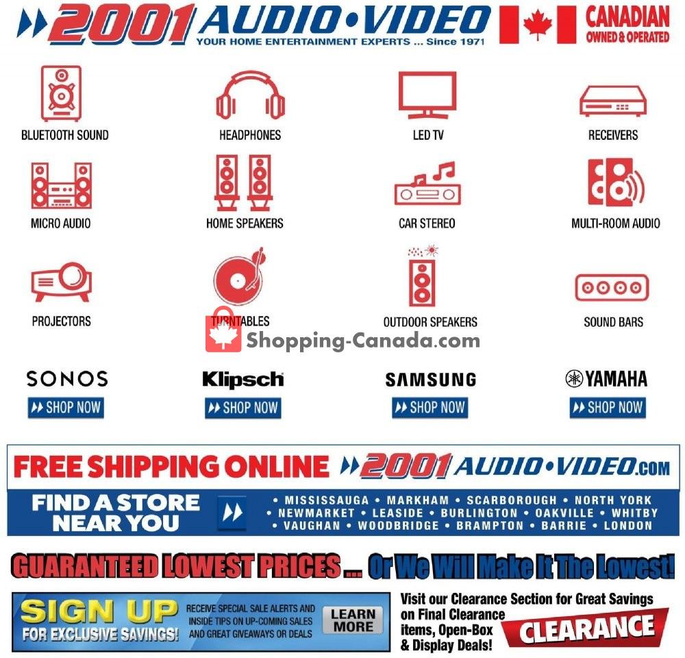 Flyer 2001 Audio Video Canada - from Friday January 10, 2020 to Thursday January 16, 2020
