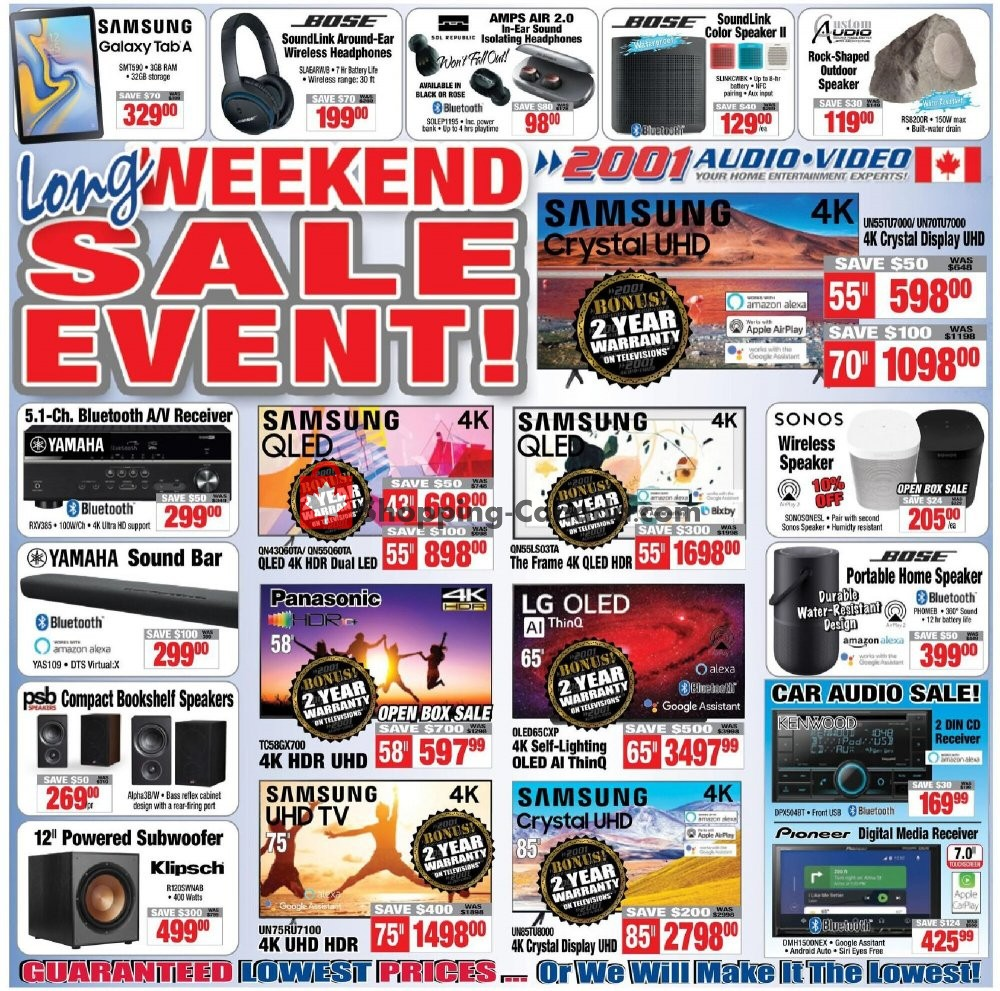 Flyer 2001 Audio Video Canada - from Friday July 31, 2020 to Thursday August 6, 2020