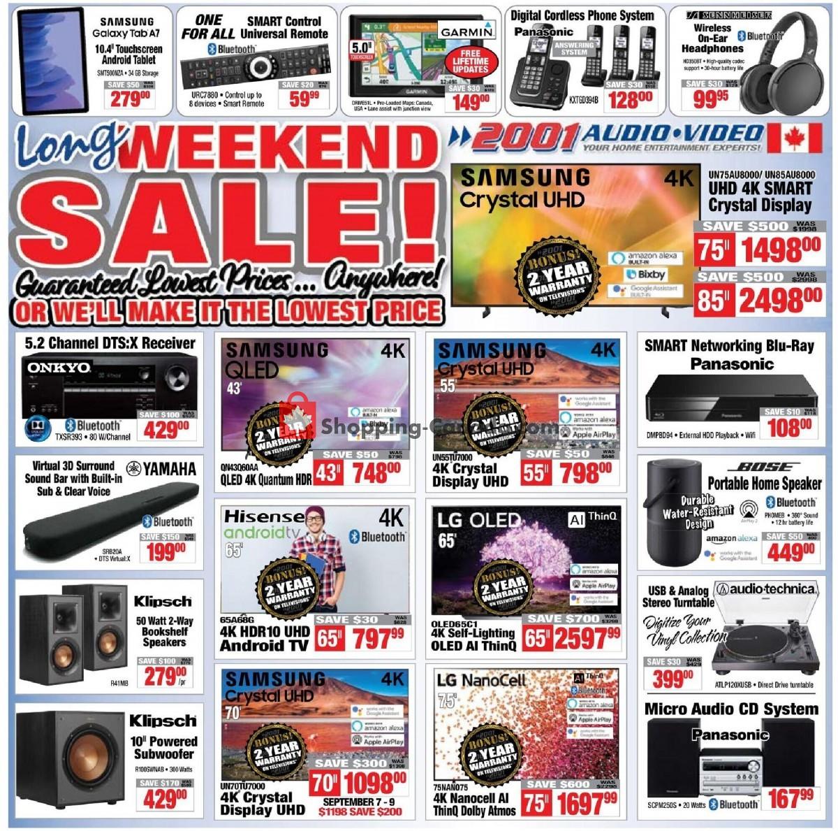 Flyer 2001 Audio Video Canada - from Friday September 3, 2021 to Thursday September 9, 2021