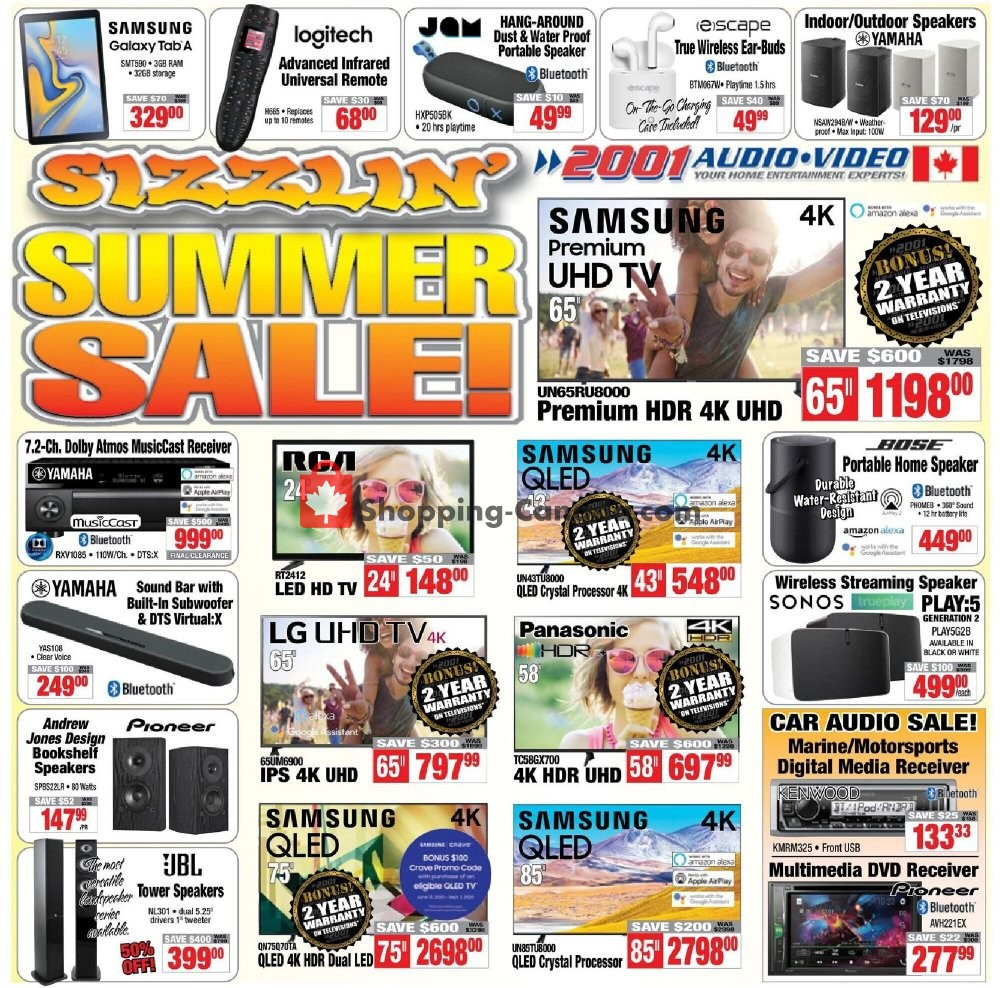Flyer 2001 Audio Video Canada - from Friday July 10, 2020 to Thursday July 16, 2020
