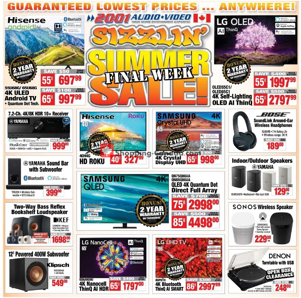 Flyer 2001 Audio Video Canada - from Friday July 16, 2021 to Thursday July 22, 2021