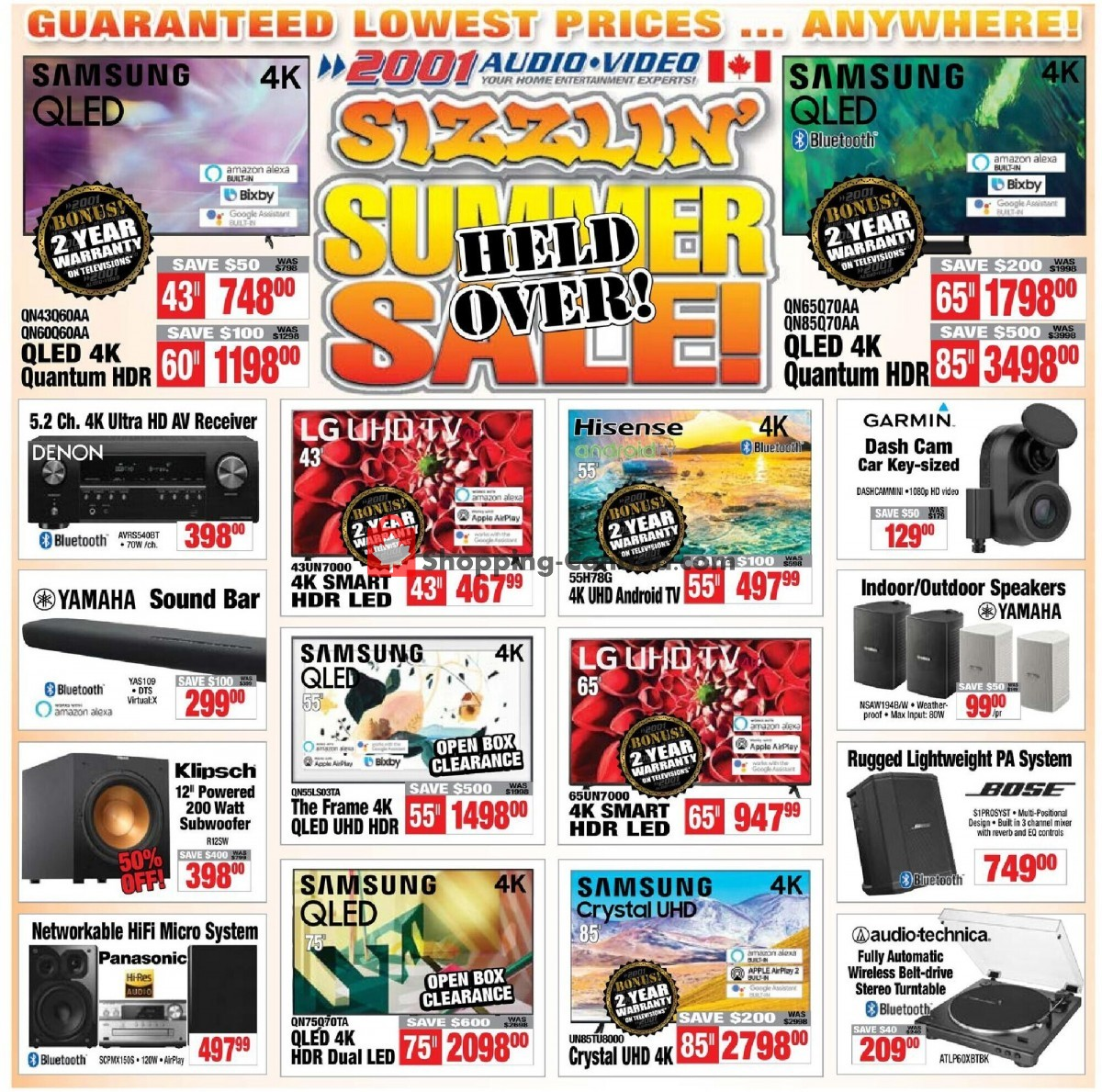 Flyer 2001 Audio Video Canada - from Friday July 9, 2021 to Thursday July 15, 2021