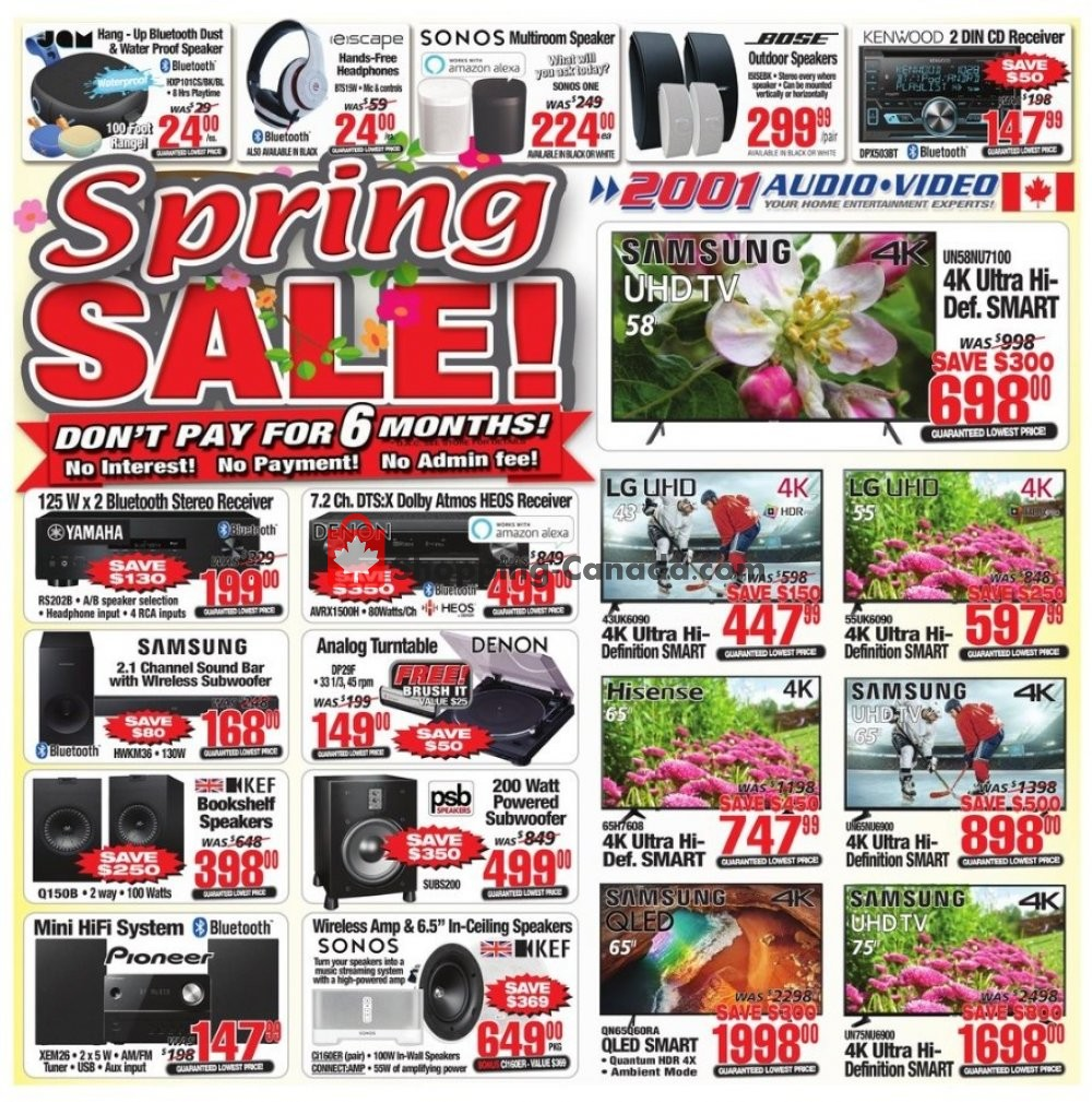 Flyer 2001 Audio Video Canada - from Friday May 3, 2019 to Thursday May 9, 2019