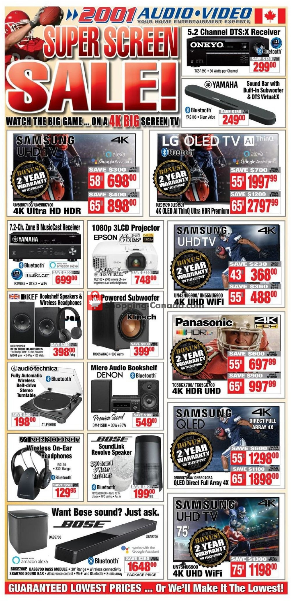 Flyer 2001 Audio Video Canada - from Friday January 31, 2020 to Thursday February 6, 2020