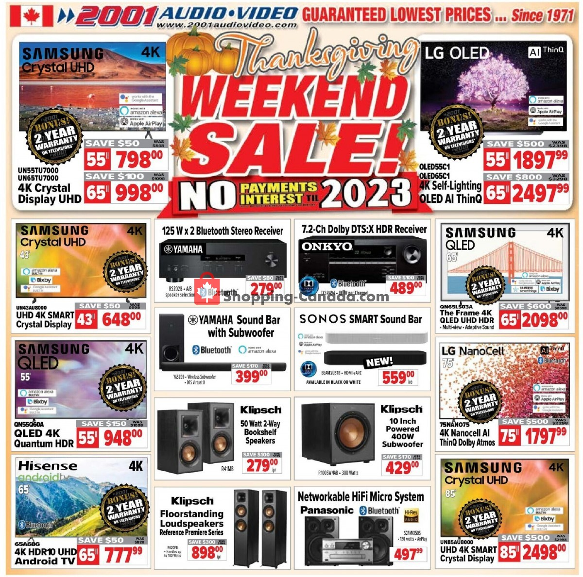 Flyer 2001 Audio Video Canada - from Friday October 8, 2021 to Thursday October 14, 2021