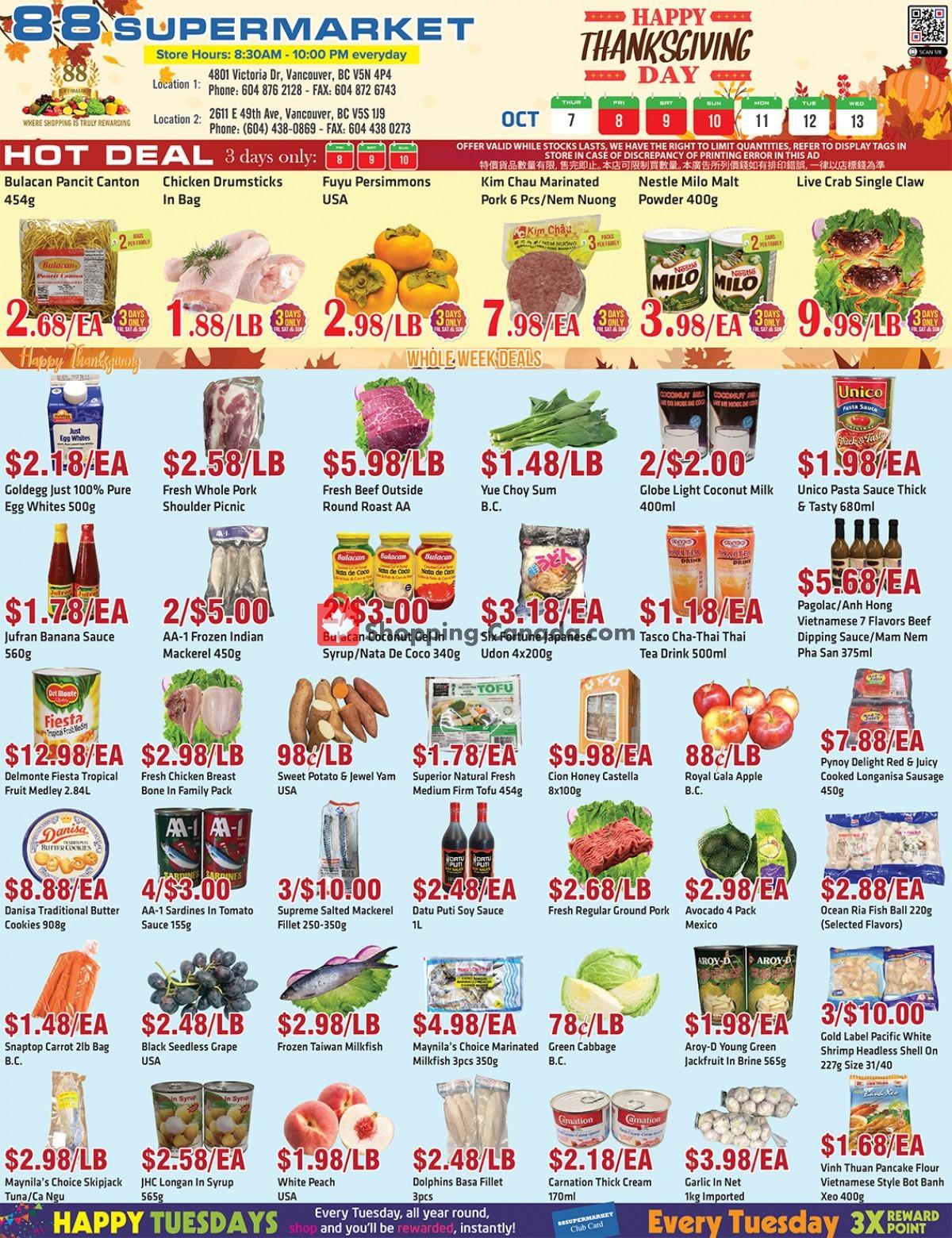 Flyer 88 Supermarket Canada - from Thursday October 7, 2021 to Wednesday October 13, 2021