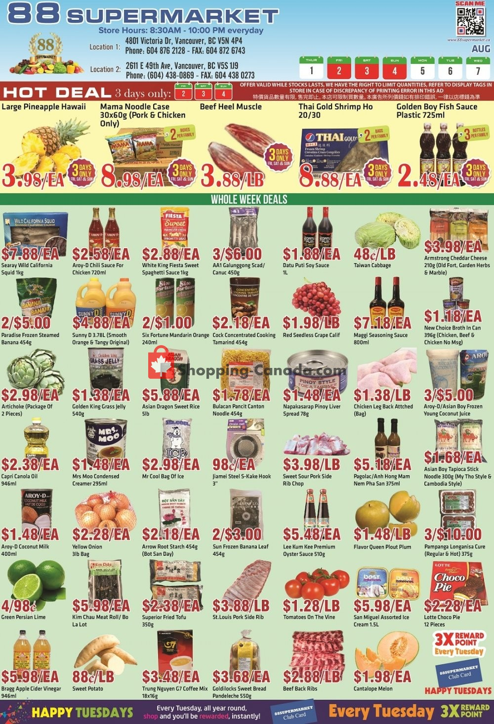 Flyer 88 Supermarket Canada - from Thursday August 1, 2019 to Wednesday August 7, 2019