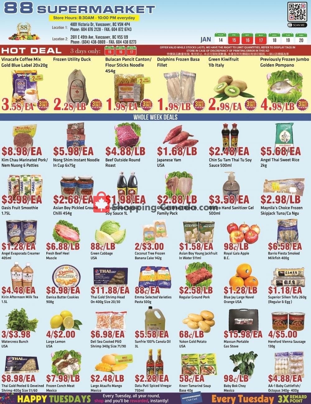 Flyer 88 Supermarket Canada - from Thursday January 14, 2021 to Wednesday January 20, 2021
