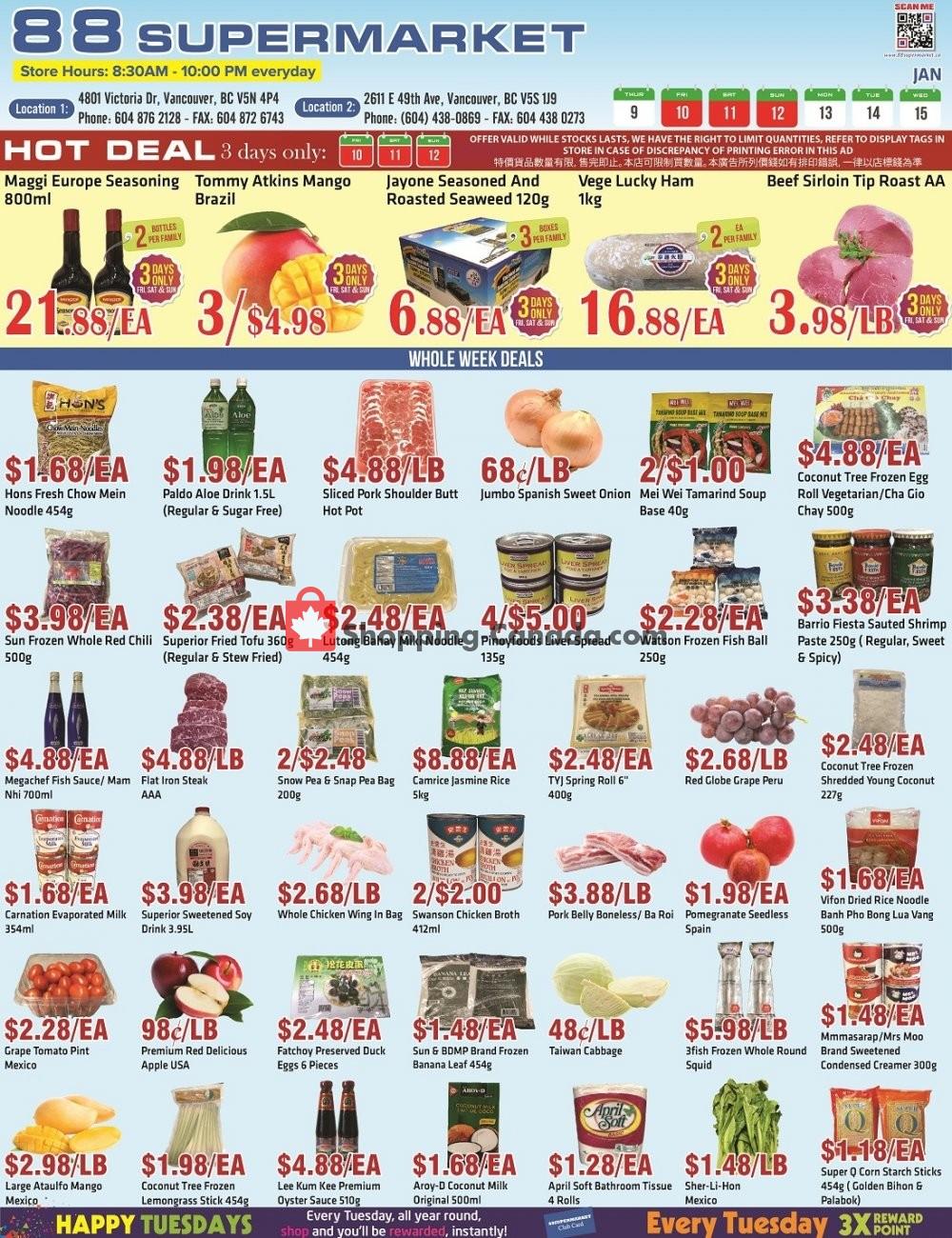 Flyer 88 Supermarket Canada - from Thursday January 9, 2020 to Wednesday January 15, 2020