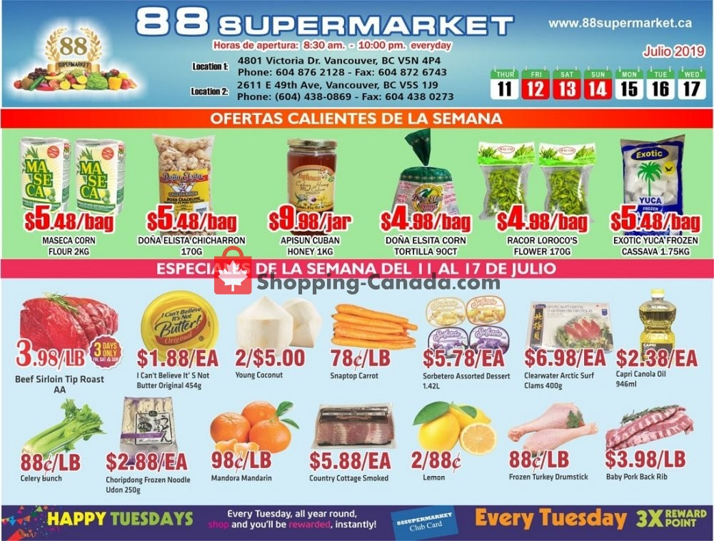 Flyer 88 Supermarket Canada - from Thursday July 11, 2019 to Wednesday July 17, 2019