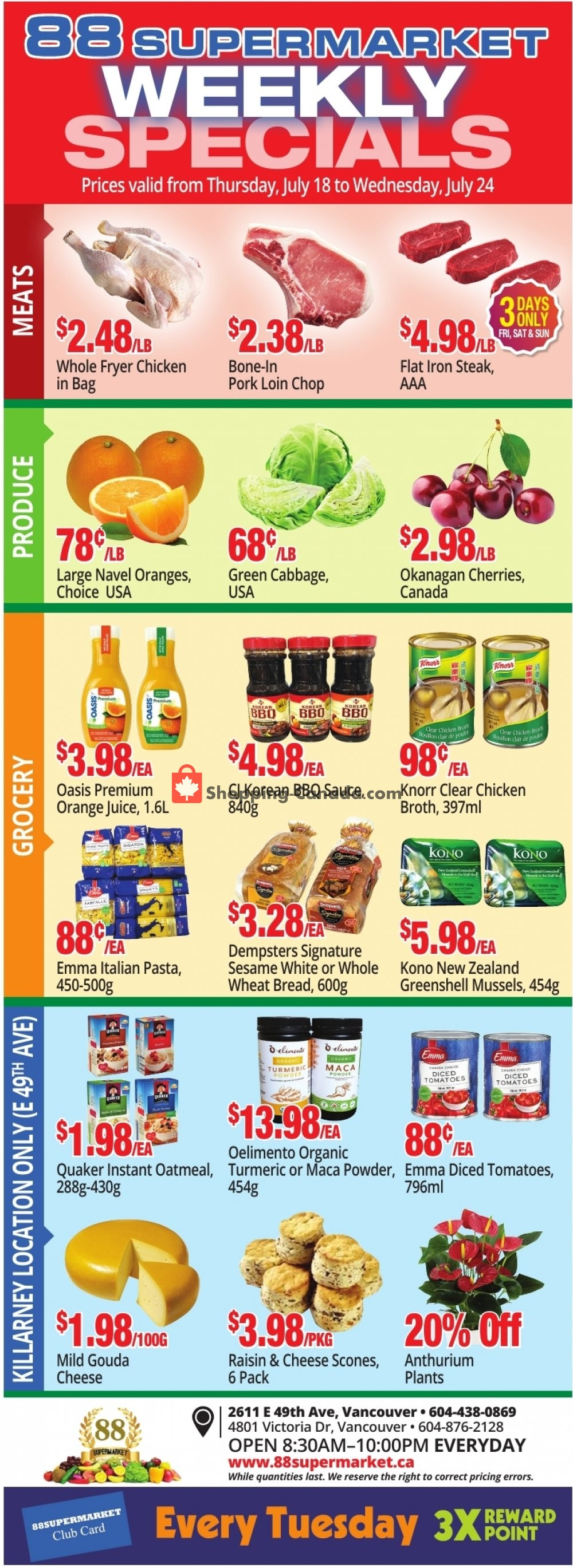 Flyer 88 Supermarket Canada - from Thursday July 18, 2019 to Wednesday July 24, 2019