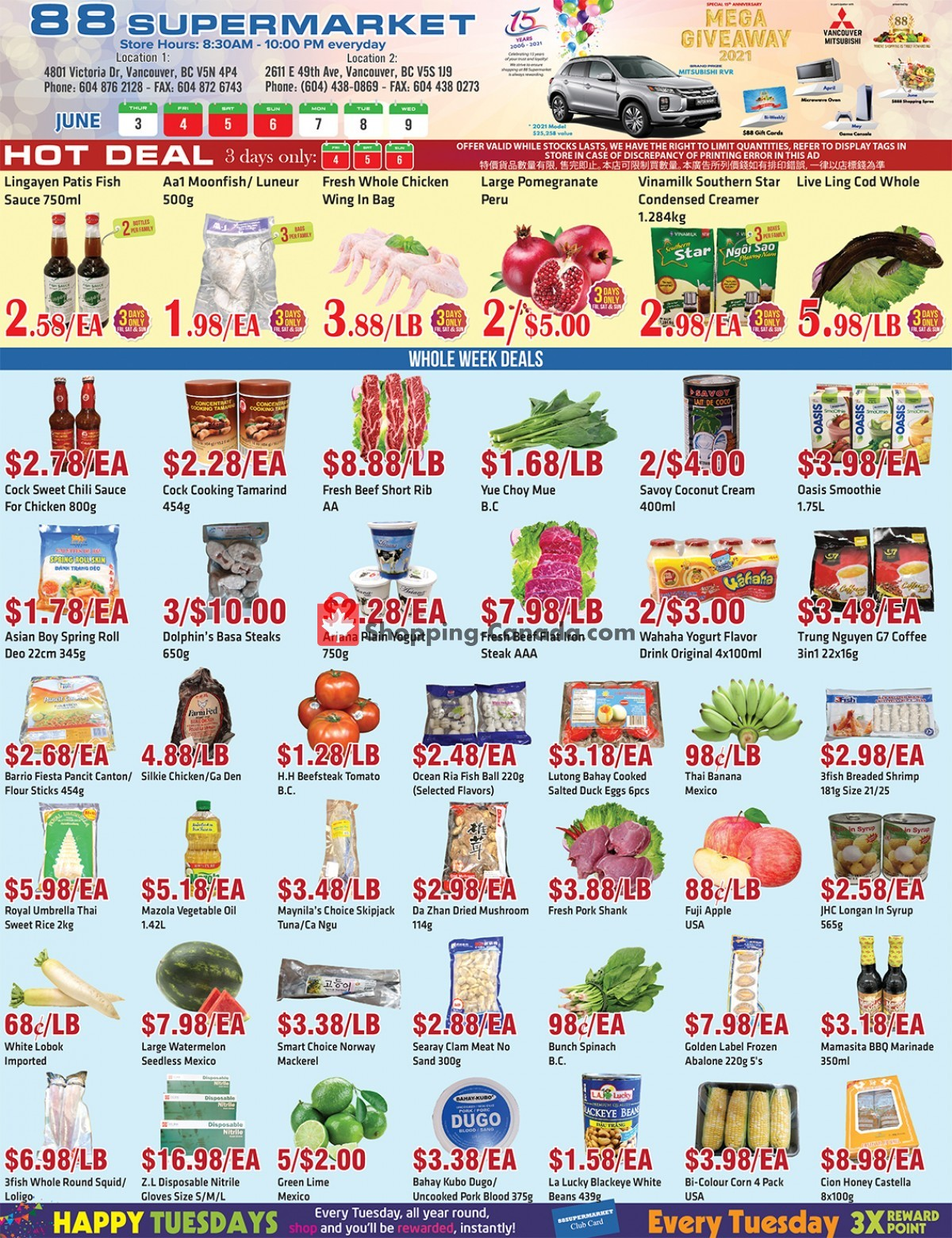 Flyer 88 Supermarket Canada - from Thursday June 3, 2021 to Wednesday June 9, 2021