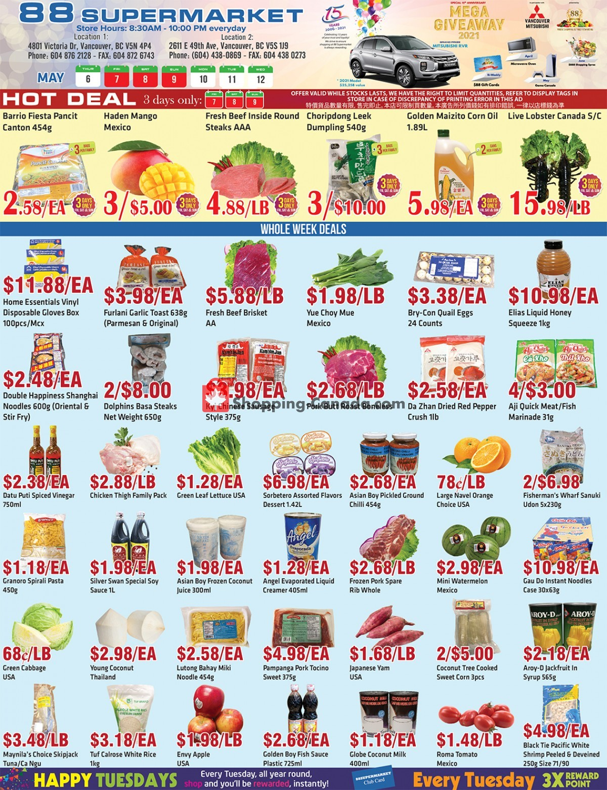 Flyer 88 Supermarket Canada - from Thursday May 6, 2021 to Wednesday May 12, 2021