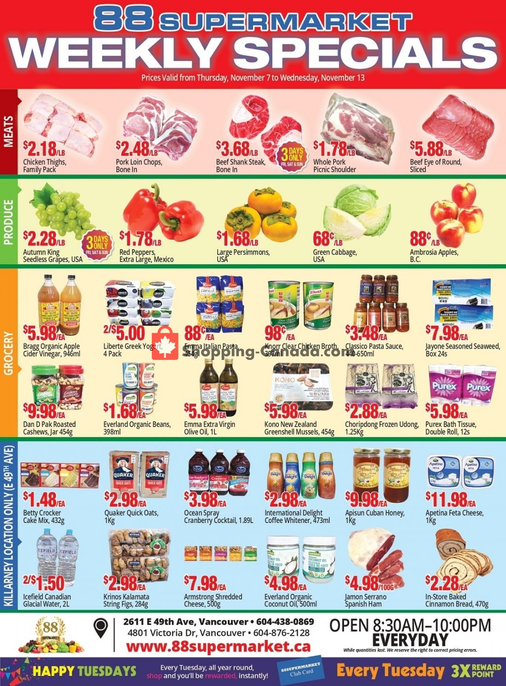 Flyer 88 Supermarket Canada - from Thursday November 7, 2019 to Wednesday November 13, 2019