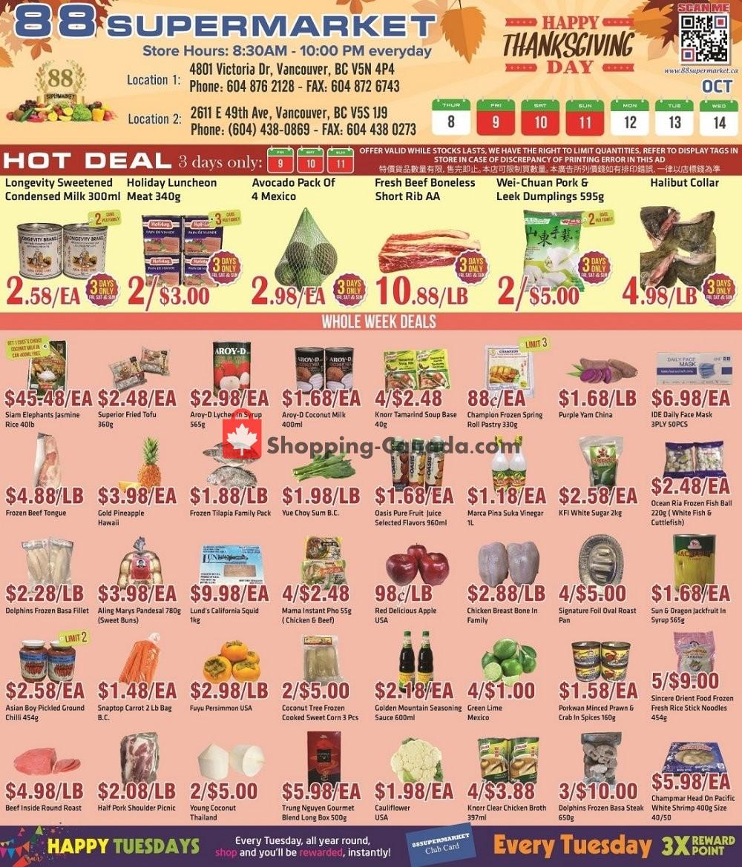 Flyer 88 Supermarket Canada - from Thursday October 8, 2020 to Wednesday October 14, 2020