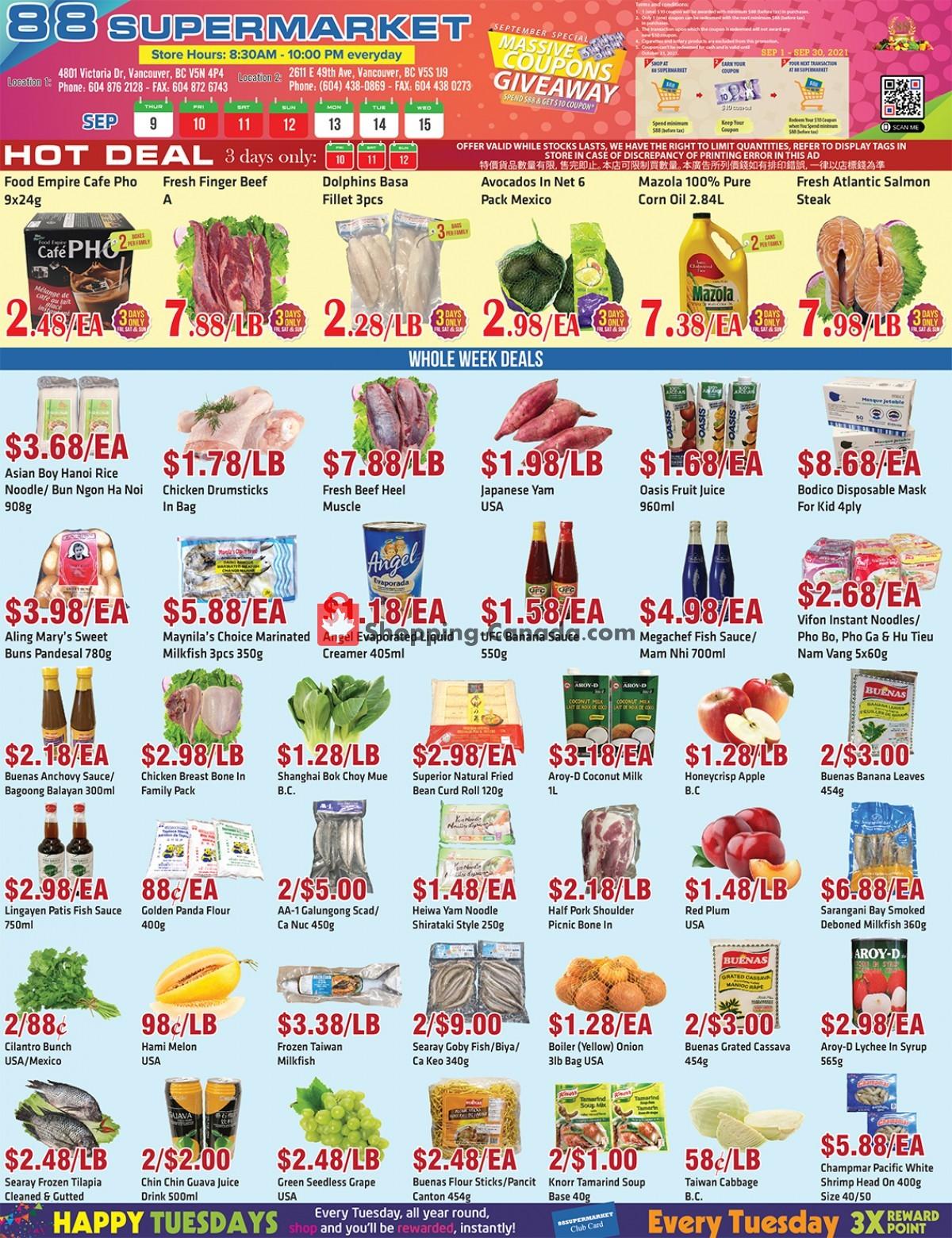 Flyer 88 Supermarket Canada - from Thursday September 9, 2021 to Wednesday September 15, 2021