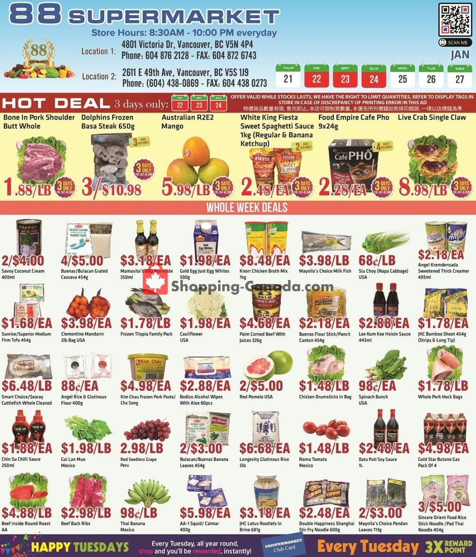 Flyer 88 Supermarket Canada - from Thursday January 21, 2021 to Wednesday January 27, 2021