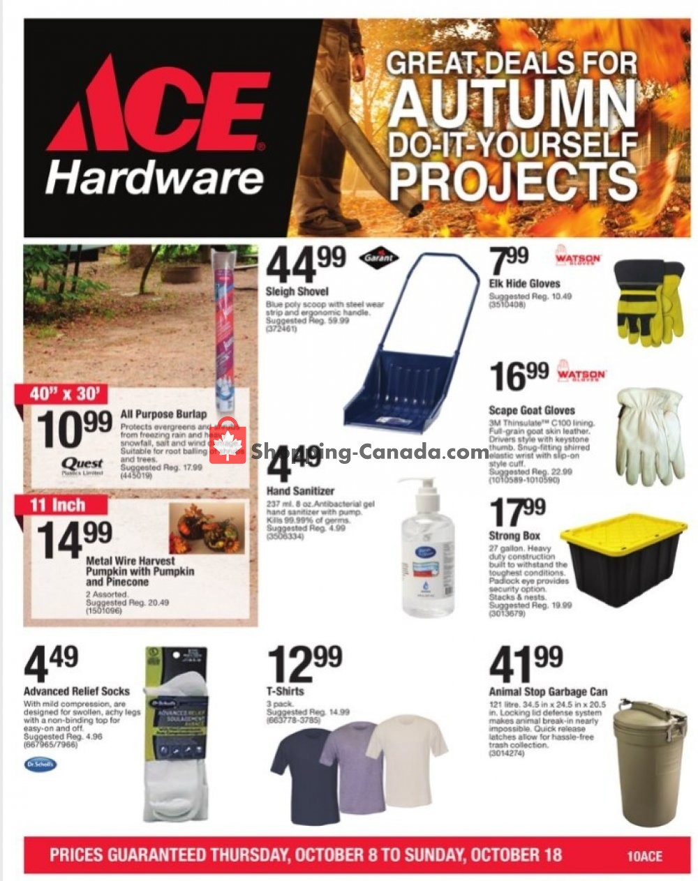 Flyer Ace Hardware Canada - from Thursday October 8, 2020 to Sunday October 18, 2020