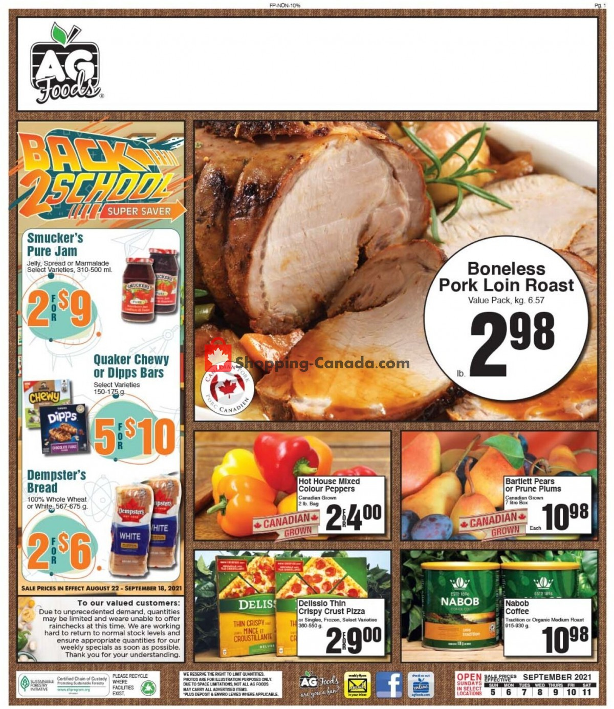 Flyer AG Foods Canada - from Sunday September 5, 2021 to Saturday September 11, 2021
