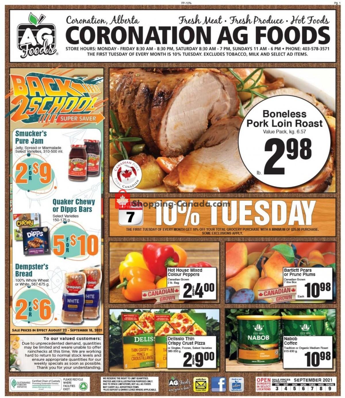 Flyer AG Foods Canada - from Friday September 3, 2021 to Thursday September 9, 2021