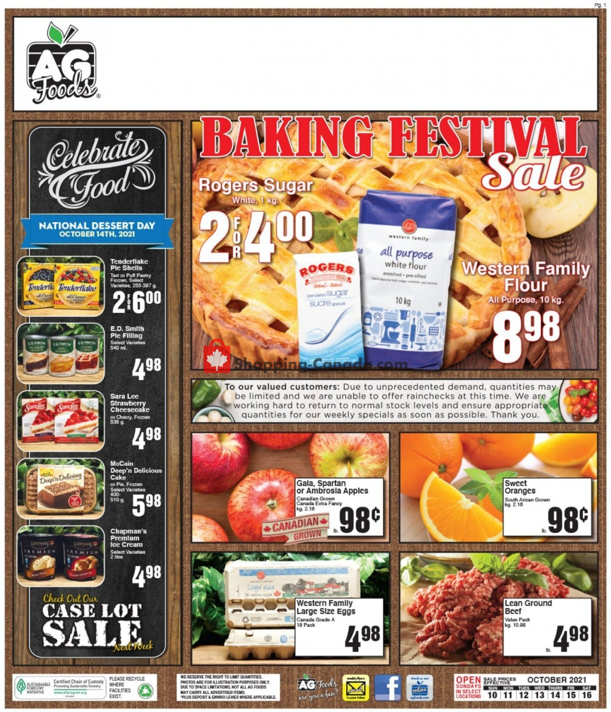 Flyer AG Foods Canada - from Sunday October 10, 2021 to Saturday October 16, 2021