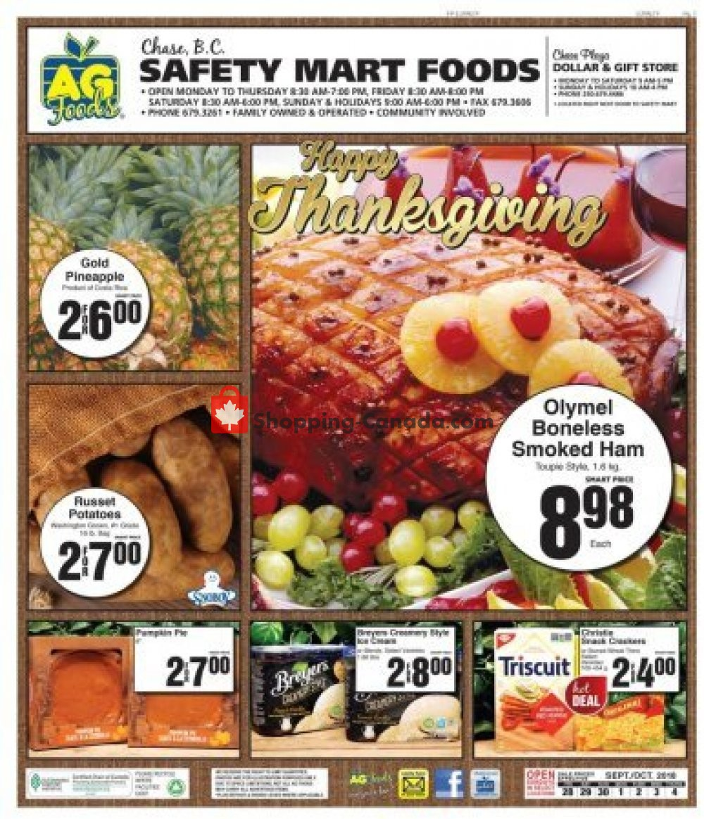Flyer AG Foods Canada - from Sunday October 28, 2018 to Thursday October 4, 2018