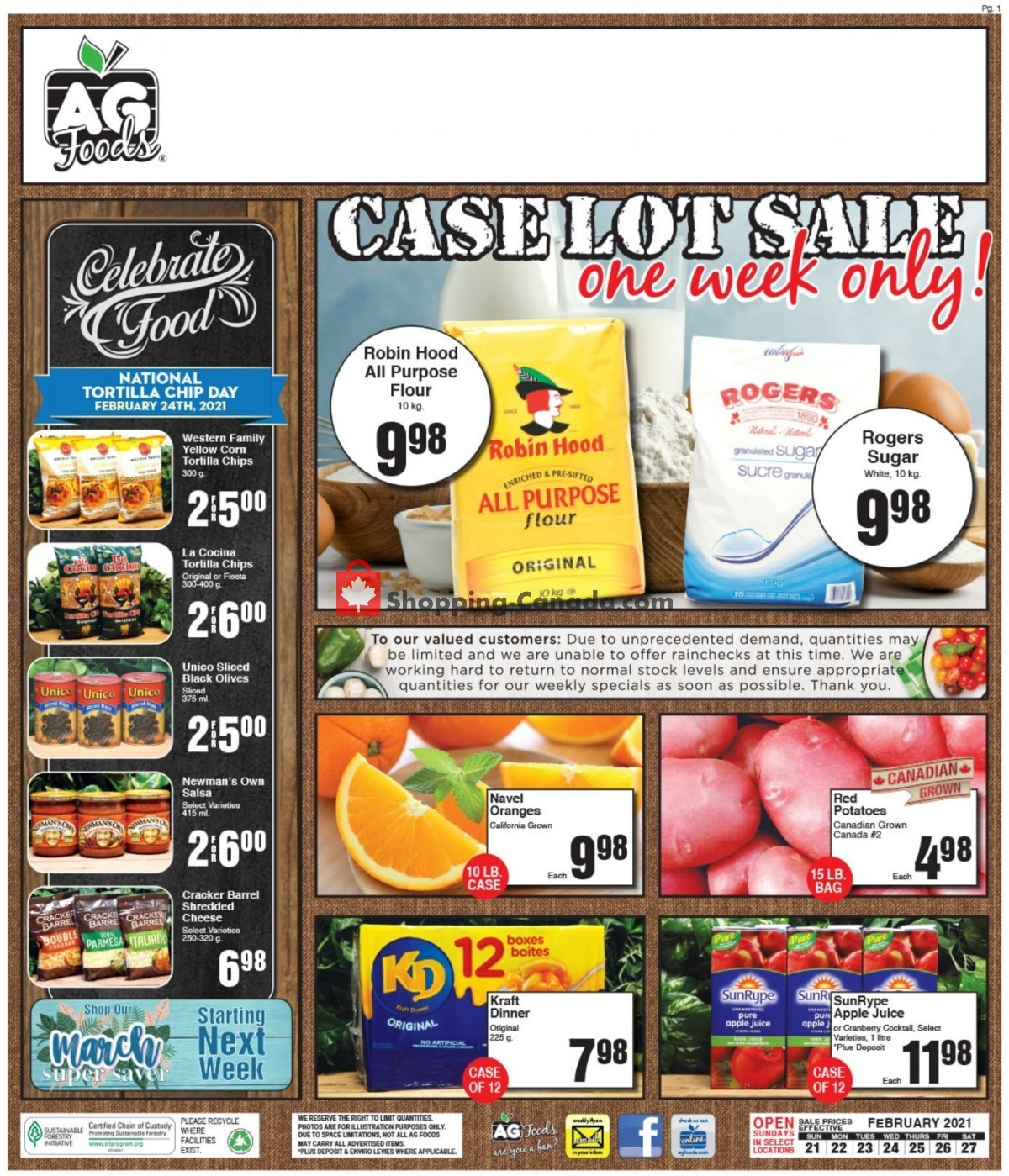 Flyer AG Foods Canada - from Sunday February 21, 2021 to Saturday February 27, 2021