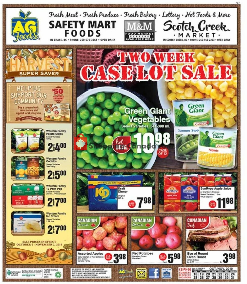 Flyer AG Foods Canada - from Friday October 18, 2019 to Thursday October 31, 2019