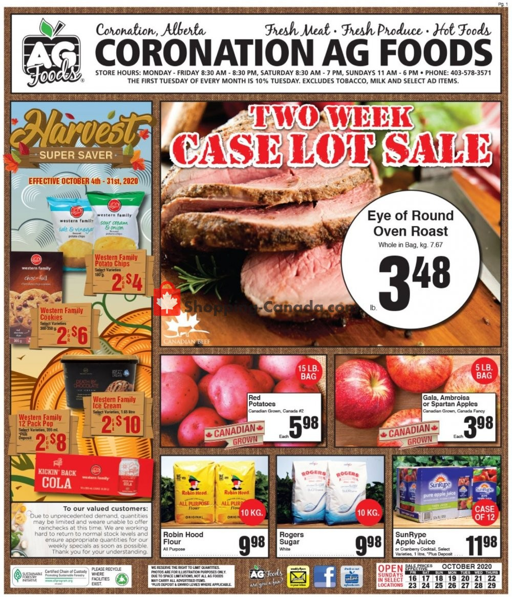 Flyer AG Foods Canada - from Friday October 16, 2020 to Thursday October 29, 2020
