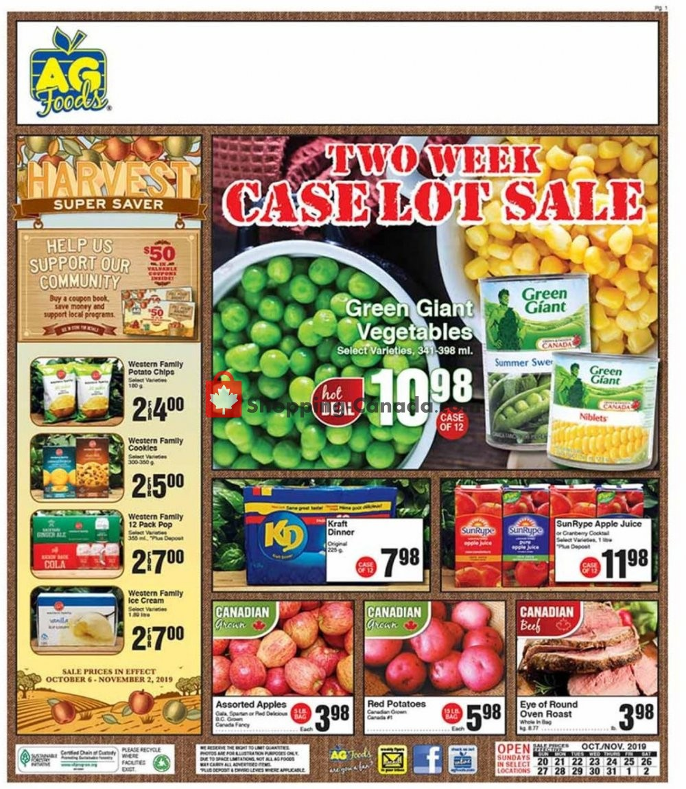 Flyer AG Foods Canada - from Sunday October 20, 2019 to Saturday November 2, 2019