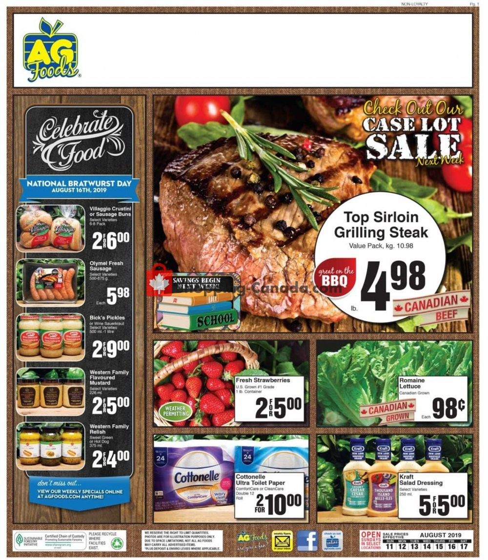 Flyer AG Foods Canada - from Sunday August 11, 2019 to Saturday August 17, 2019