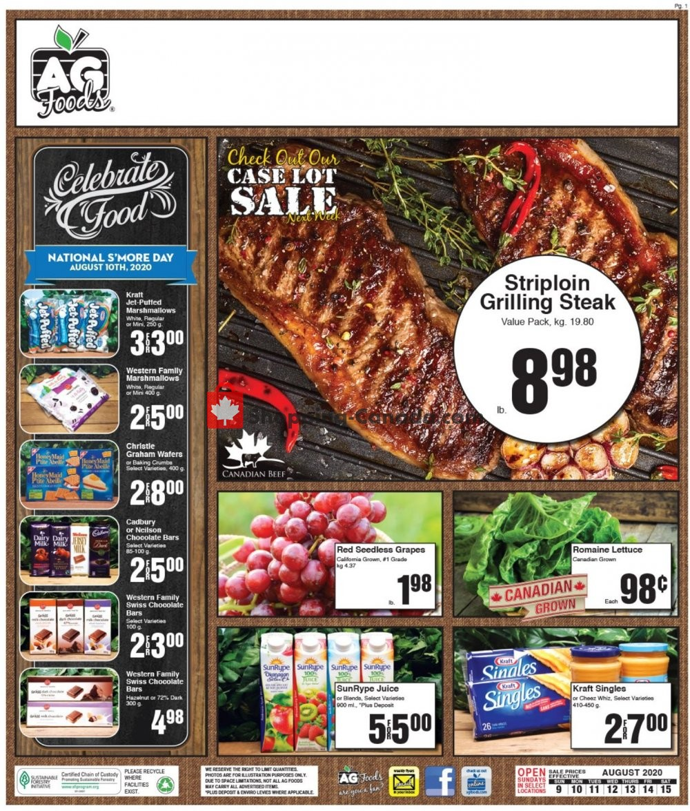Flyer AG Foods Canada - from Sunday August 9, 2020 to Saturday August 15, 2020