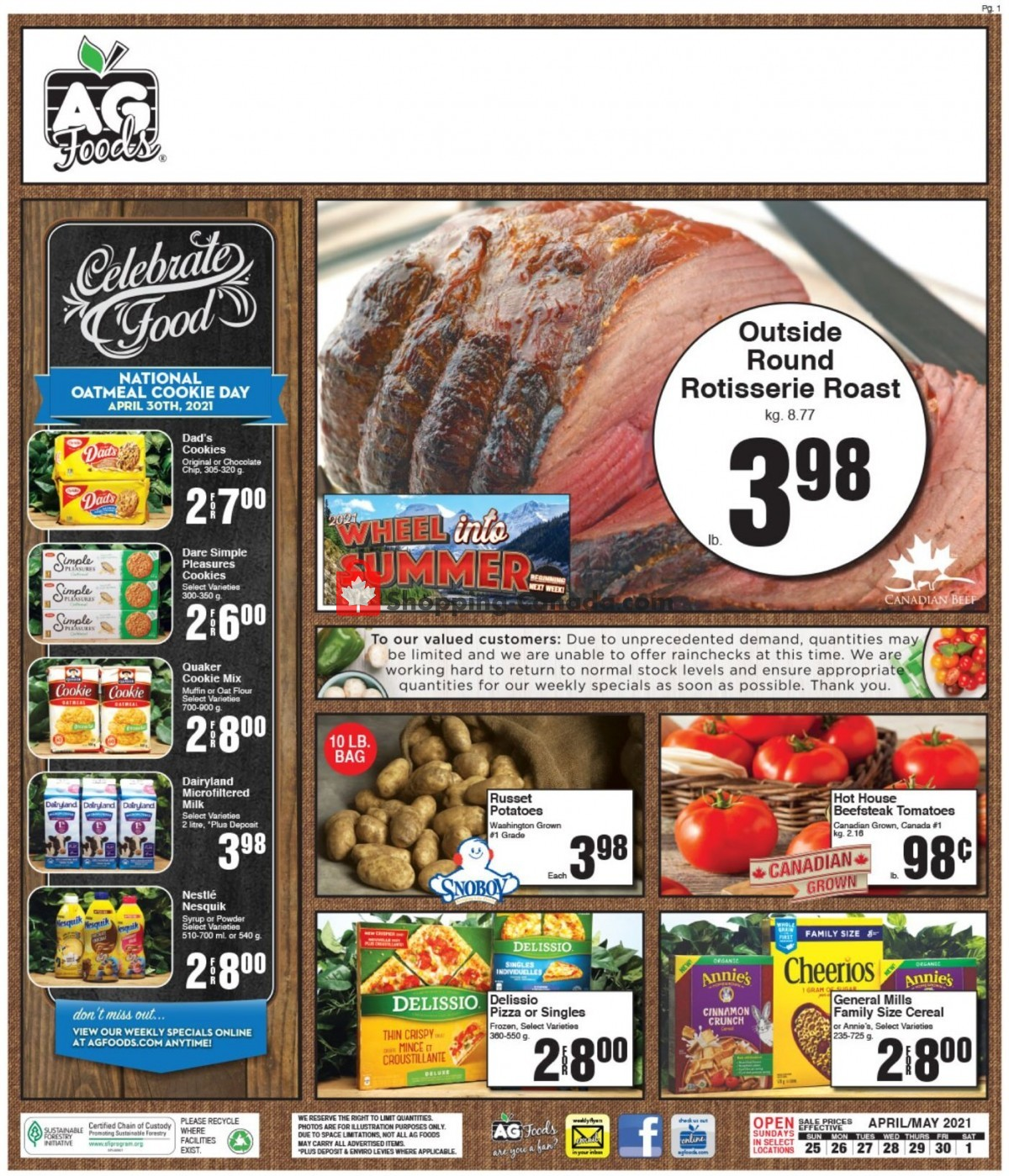 Flyer AG Foods Canada - from Sunday April 25, 2021 to Saturday May 1, 2021
