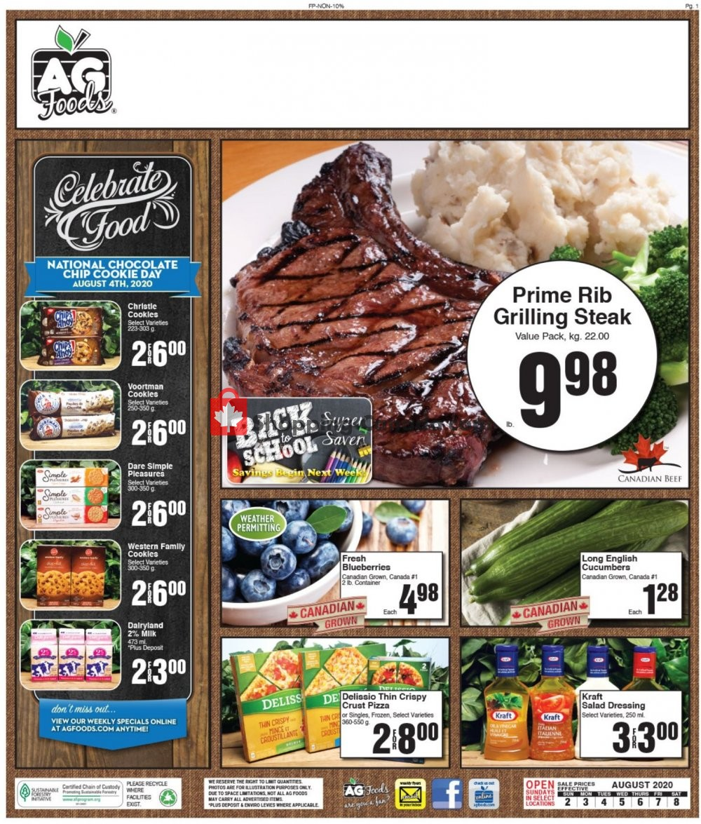 Flyer AG Foods Canada - from Sunday August 2, 2020 to Saturday August 8, 2020
