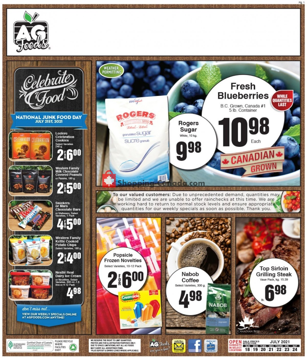 Flyer AG Foods Canada - from Sunday July 18, 2021 to Saturday July 24, 2021