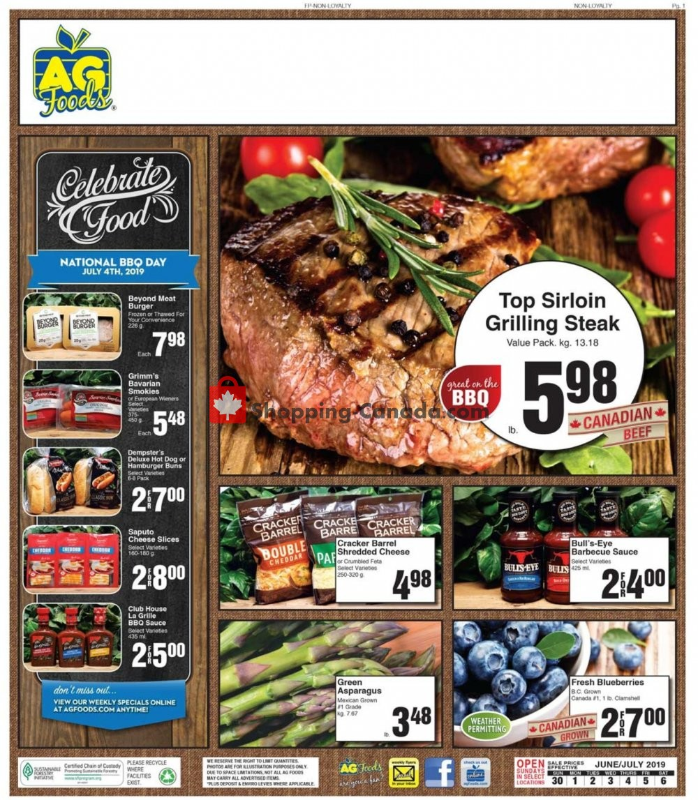 Flyer AG Foods Canada - from Sunday June 30, 2019 to Saturday July 6, 2019