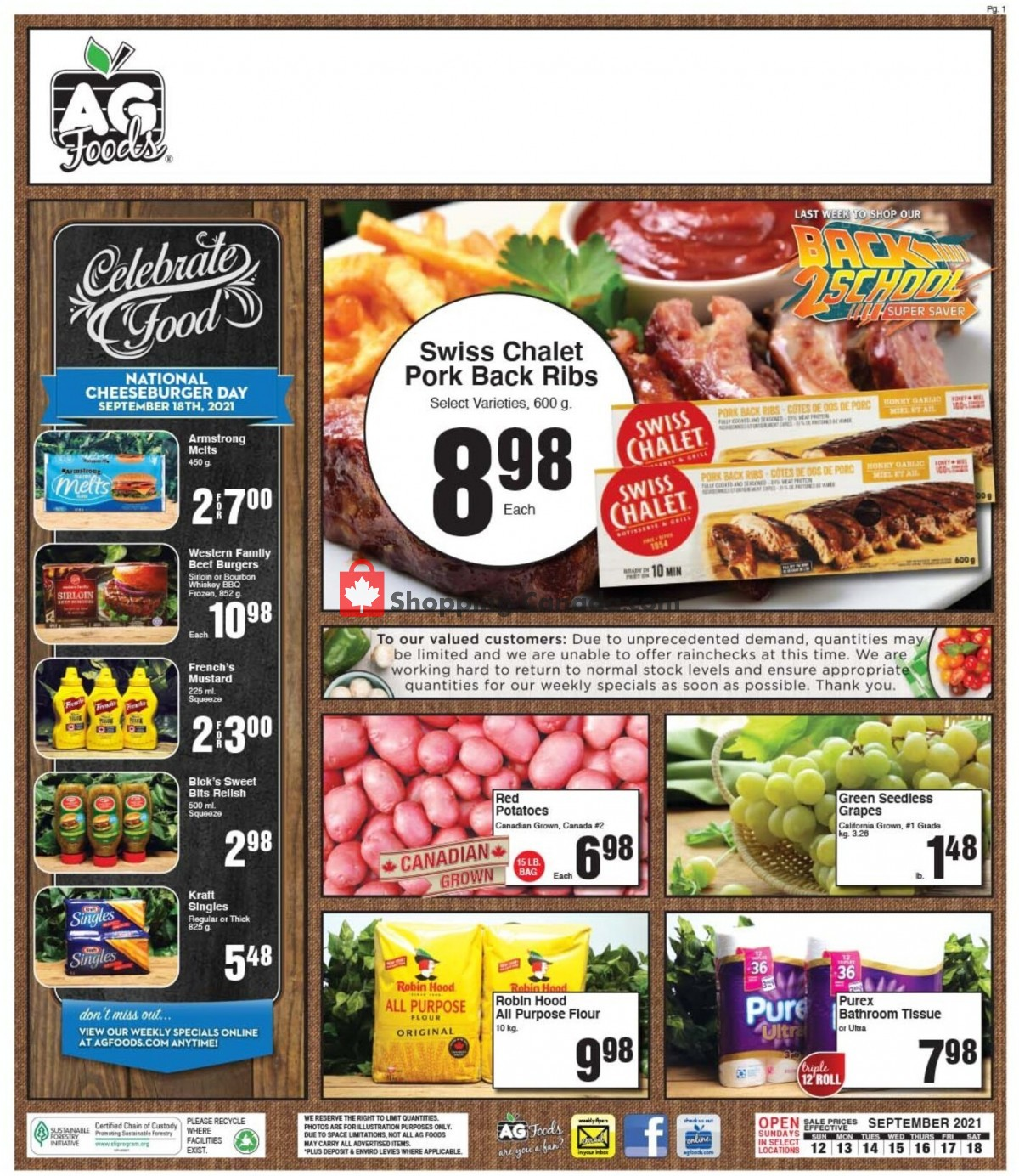 Flyer AG Foods Canada - from Sunday September 12, 2021 to Saturday September 18, 2021
