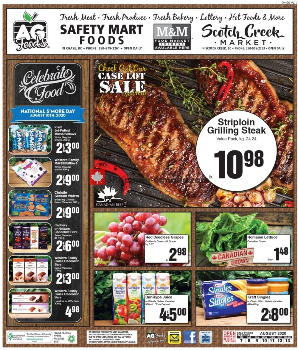 Flyer AG Foods Canada - from Friday August 7, 2020 to Thursday August 13, 2020