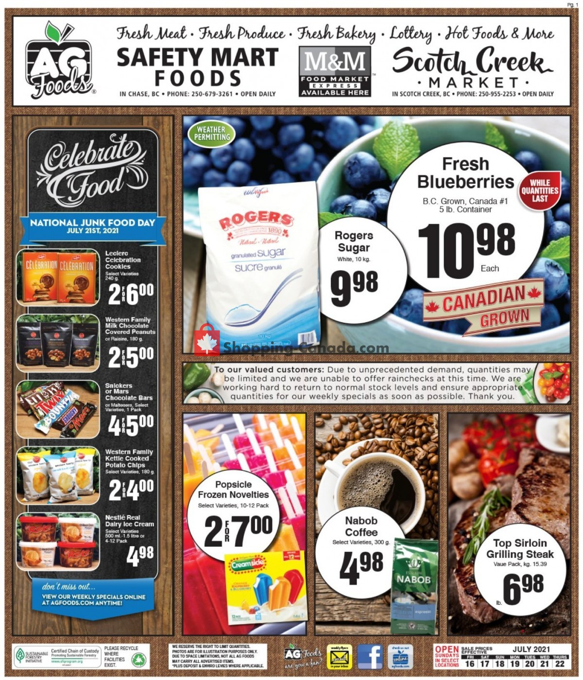 Flyer AG Foods Canada - from Friday July 16, 2021 to Thursday July 22, 2021
