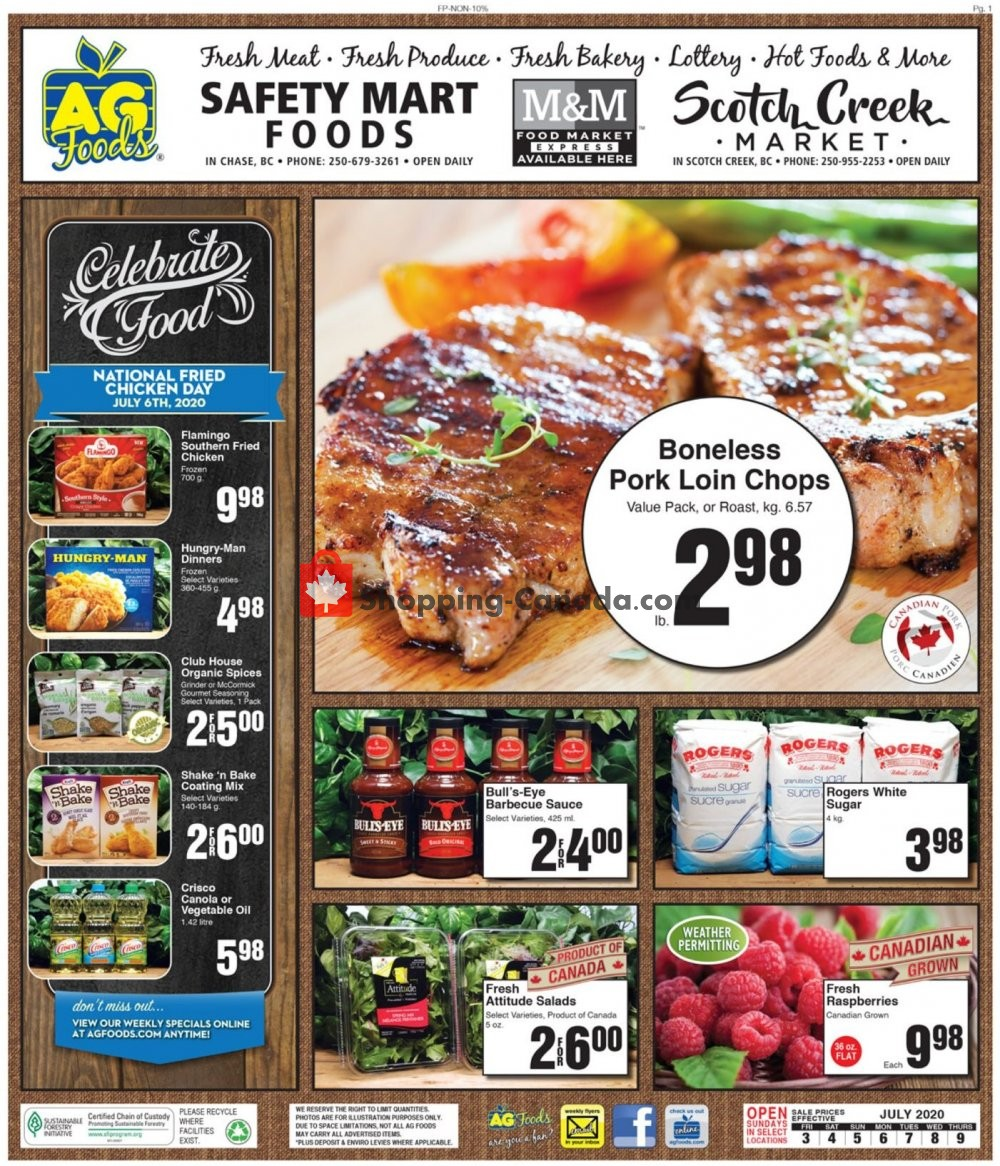 Flyer AG Foods Canada - from Friday July 3, 2020 to Thursday July 9, 2020