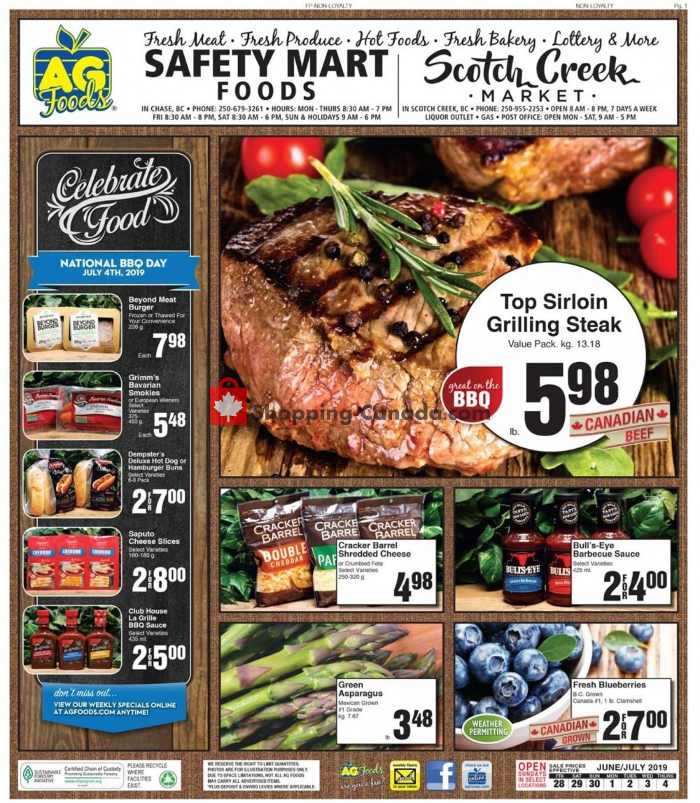 Flyer AG Foods Canada - from Friday June 28, 2019 to Thursday July 4, 2019