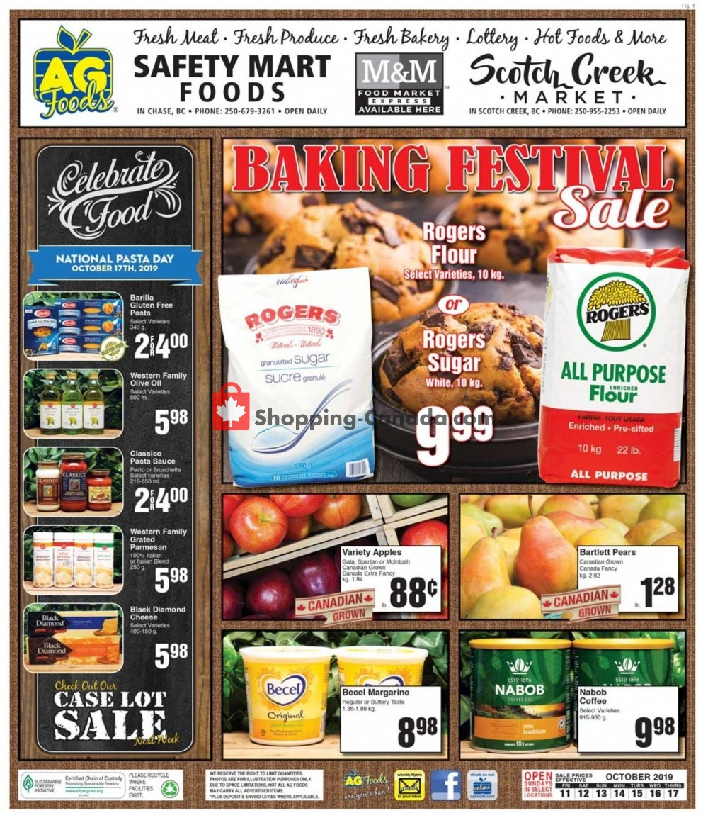 Flyer AG Foods Canada - from Friday October 11, 2019 to Thursday October 17, 2019