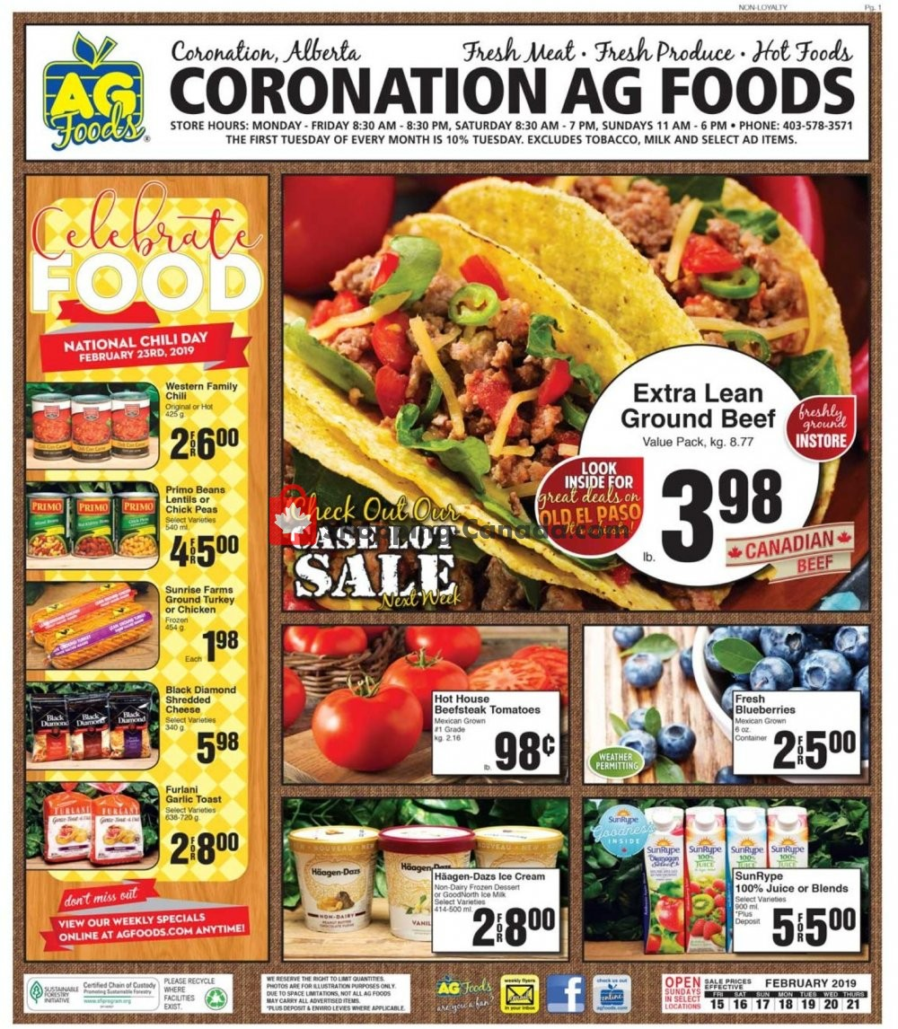 Flyer AG Foods Canada - from Friday February 15, 2019 to Thursday February 21, 2019