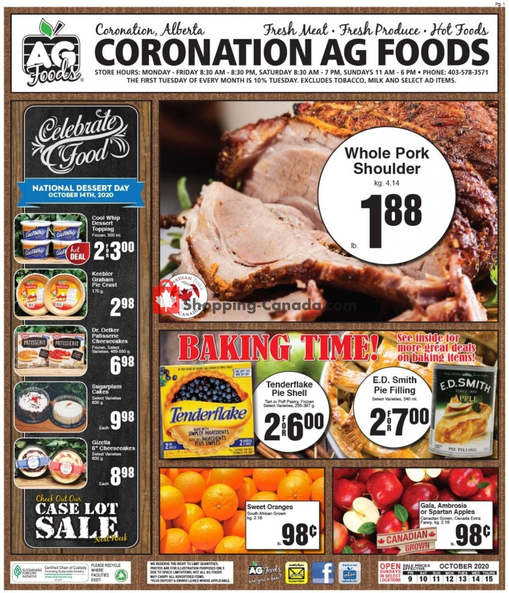 Flyer AG Foods Canada - from Friday October 9, 2020 to Thursday October 15, 2020