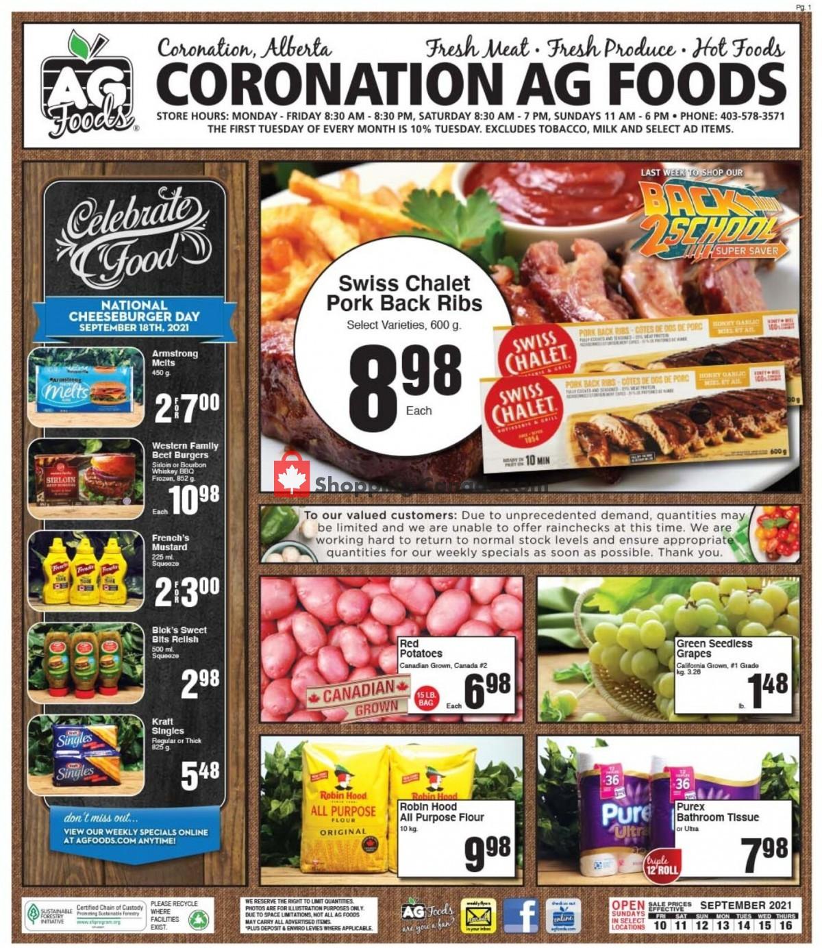 Flyer AG Foods Canada - from Friday September 10, 2021 to Thursday September 16, 2021